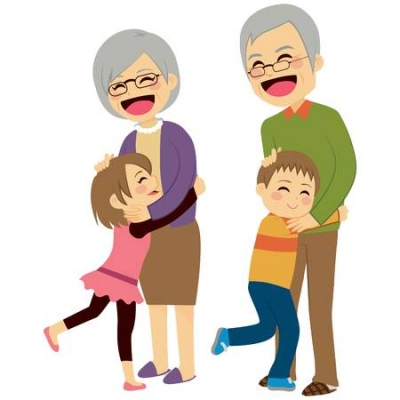 42223704 stock vector cute happy little grandchildren hugging their grandparents